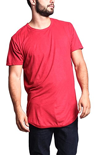 G-Style USA Perforated Faux Suede Long Length Curved Hem T-Shirt w/ Side Zippers - TS670 - RED - 6X-Large - - Red Upgrade T-shirt