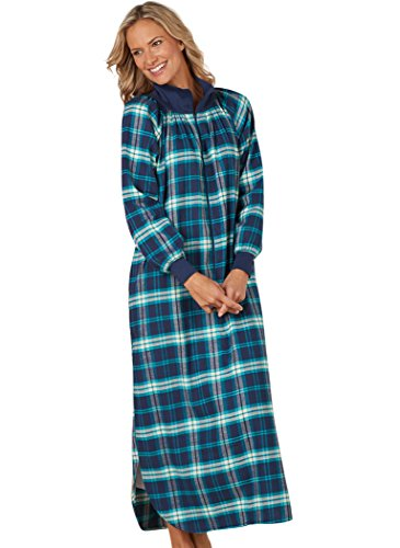 Plaid Flannel Lounger (AmeriMark Women's Plaid Flannel Lounger 1X (16W-18W)/Navy)