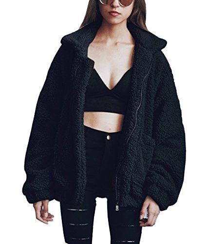 PRETTYGARDEN Women's Fashion Long Sleeve Lapel Zip Up Faux Shearling Shaggy Oversized Coat Jacket with Pockets Warm Winter (Black, XX-Large)