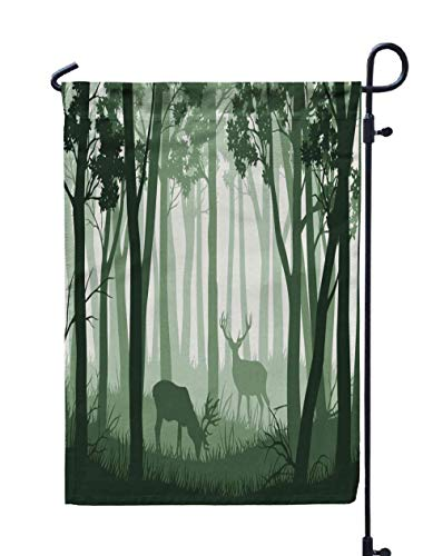 Shorping Welcome Garden Flag, 12x18Inch Green Landscape Trees Two Deers for Holiday and Seasonal Double-Sided Printing Yards -