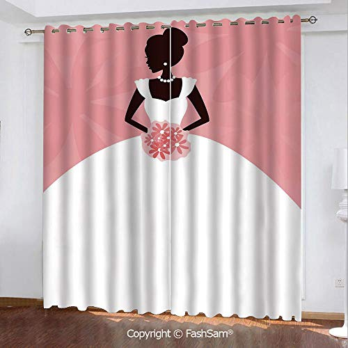(Best Home Fashion Blackout Curtains Wedding Dress with Flowers Abstract Blurry Backdrop Window Curtains for Living Room(84