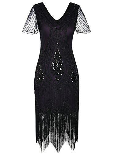 kayamiya Women's Flapper Dresses 1920s Sequins Art Deco Gatsby Cocktail Dress with Sleeve S -