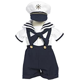 Classykidzshop Navy Sailor Boy Shirt, Shorts, Tie and Hat (Baby-ExtraLarge)