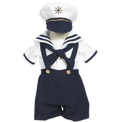 (Classykidzshop Navy Sailor Boy Shirt, Shorts, Tie and Hat (Baby-ExtraLarge))