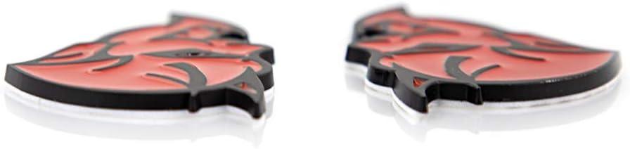 Red with black outline CARRUN 2Pc Demon Challenger Emblem Car Body Rear Side Emblem Badge Decal For Challenger