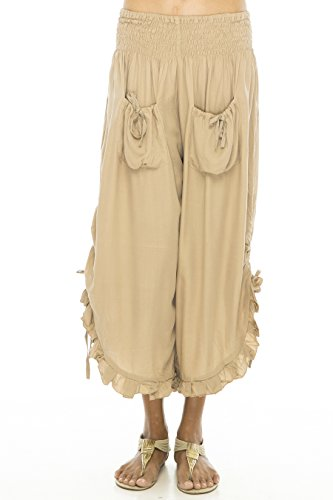 Back From Bali Womens Wide Leg Comfort Elastic Waist Crop Ruffle Hem Audi Pants Beige L/XL