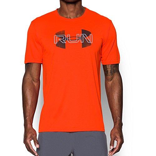 Under Armour Men's Run Overlap T-Shirt, Phoenix Fire/Overcast Gray, XX-Large