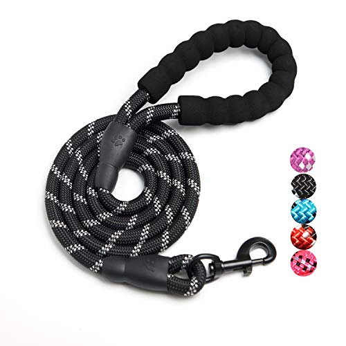 D-buy Reflective Strong Rope Dog Leash with Comfortable Padded Handle Heavy Duty Metal Clasp for Dogs for Pets (5 FT)