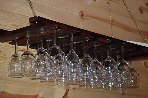 "American Metalcraft 14"" x 35"" Walnut Wood Bar Wine Glass Hanging Rack"