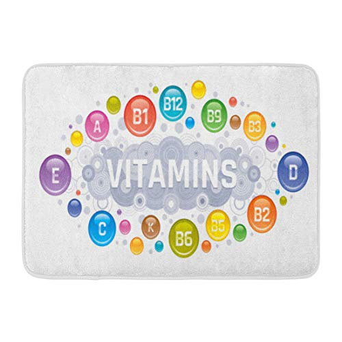 "Emvency Bath Mat Acid Multi Vitamin Complex B Group B1 B2 B3 B5 B6 B9 B12 C D E K Multivitamin Supplement White Diet Bathroom Decor Rug 16"" x 24"""
