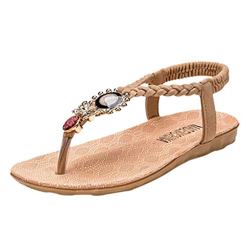 Behkiuoda Women Flat Sandal Summer Elastic Band Bohemia Style Open Toe Flip Flop Beach Shoes for Girl Beige