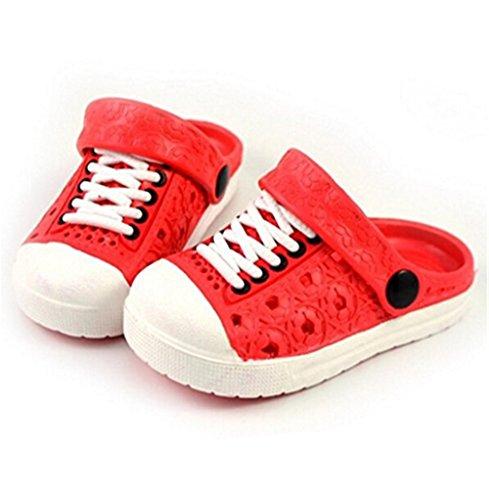 Hausschuhe 29 Unisex Kinder HENGSONG Clog Pantoletten Clogs Bade Eva Size Versch Gartenschuhe Kinder Schuhe in Größen Rot Asian Sandalen ETTqzgn