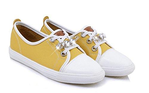Top Schnürsenkel Flach Aisun Strass Kunstleder Low Gelb Sneakers Damen Outdoor qxwwtATS1