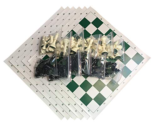 WE Games Best Value Tournament Chess Set - Filled Chess Pieces and Green Roll-Up Vinyl Chess Board - Bulk Club Pack - Includes 6 Complete Sets