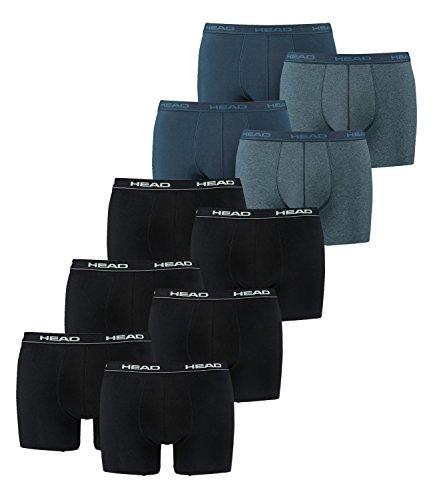 HEAD Herren Boxershorts 841001001 10er Pack, Wäschegröße:XL;Artikel:3x2er Black / 2x2er Blue Heaven