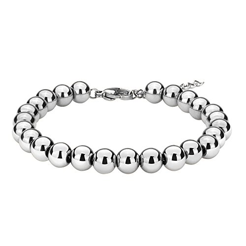 ZINDOV Jewelry Wedding Bridal Stylish Beaded Bracelet in Stainless Steel Balls Chain Great Gift for Women Men Young Adults Silver Color Tone (Silver Ball Tone Chain)