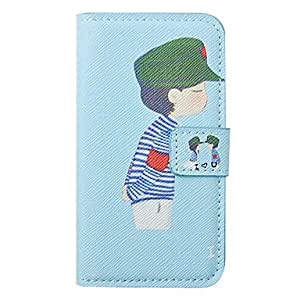 GHK - Cartoon Boy Pattern Leather Hard Case for iPhone 4/4S(Blue)