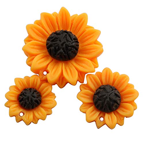 Sunflower Resin - NX Garden 12PCS Orange Sunflower Girasoles Daisy Flowers Resin Flatback Cabochon with Hole for Necklace Earrings Ring Bracelet Handmade DYD 3 Size