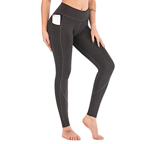 Ahagogo Yoga Pants with Pockets for Women Sports Leggings with Pockets High Waisted Gym Leggings Women Running Trousers Tummy Control Dark Gray