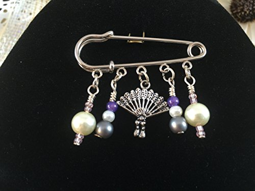 Mother Nature Goddess Earth Costume (Purple Pearl Renaissance Victorian Fan Kilt Pin Brooch)