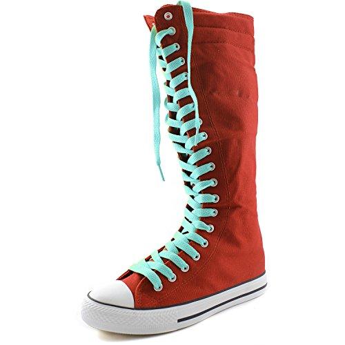 Dailyshoes Damesschouder Middenkuit Lange Laarzen Casual Sneaker Punk Flat, Oceaanblauwe Rode Laarzen, Oceaanblauw Kant