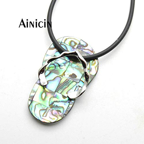 - Davitu 20x40mm Large Size Slippers Shape Pendants Natural Abalone Combination Fashion Women Jewelry Making Findings - (Metal Color: with Rubber Chain)