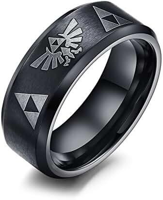 FANSING 8mm Black Stainless Steel Zelda Triangle Rings for Mens & Womens