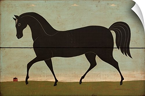 eel Wall Art Print entitled Black Horse (Warren Kimble Americana)