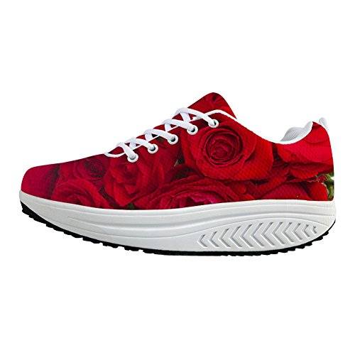 FOR U DESIGNS Height Increasing Ladies Evelator Shoes Breathable Fitness Red Rose Womens Sneaker US 10 by FOR U DESIGNS