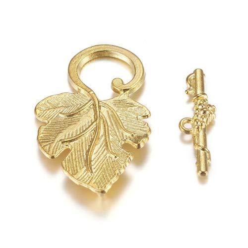 FidgetGear 10 Sets Tibetan Alloy Leaf Toggle Clasps Carved Antiqued Closure Findings 37.5mm Gold