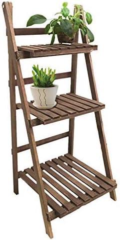 Escalera de madera para macetas con 3 estantes; estantes plegables para plantas. Escalera para flores para interior y exterior: Amazon.es: Jardín