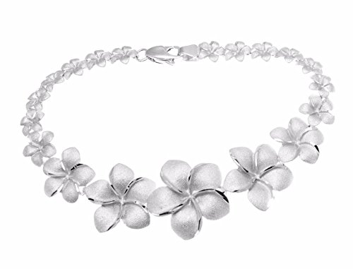Arthur's Jewelry Solid 14K white gold graduated Hawaiian plumeria flower bracelet 7 1/8