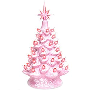 Best Choice Products 11in Pre-Lit Hand-Painted Ceramic Tabletop Artificial Christmas Tree Festive Holiday Decor w/Lights, Star Topper - Pink 22