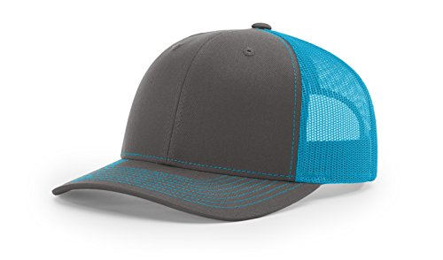 Richardson 112 Mesh Back Trucker Cap Snapback Hat, Charcoal/Neon Blue
