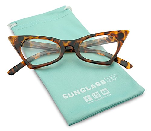 1950's Retro Vintage High Pointed Colorful Clear Lens Geometric Cat Eye Glasses Non-Prescription (Tortoise, - Tortoise Frames Cat Eye