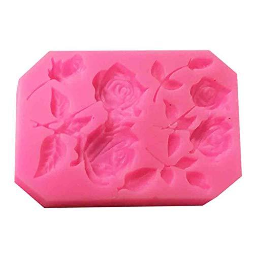 Orcbee  _3D Mini Roses Flower Liquid Silicone Cake Mold DIY Fondant Mold Cake - Towel Stem Rose
