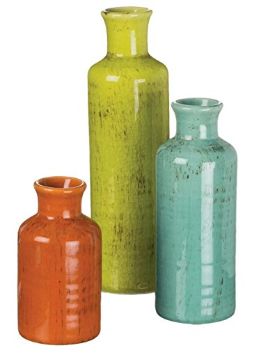 London Home Décor Ceramic Vase Set - 3 Colors (Burnt Orange/Green/Blue) - Add Beauty, Depth and Dimension to Any Space in your Home! (Accents Ceramic Vase)