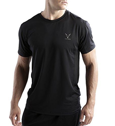 Vaiden Vortex: Mens Lightweight/Quick Drying Athletic Performance T-Shirt (Medium, Black)