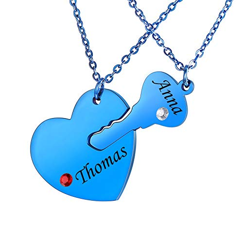 Valyria Stainless Steel Personalized Key Heart Puzzle Necklace Set with Birthstones - Custom Made with Any Name (Blue)
