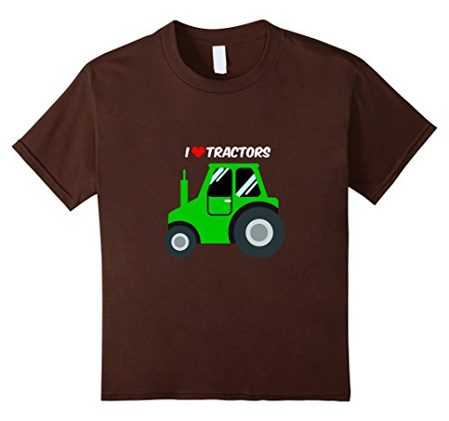 [Kids Tractor TShirt I Love Tractors For Farming Kids and Adults  8 Brown] (Farmers Dress Up Costumes)