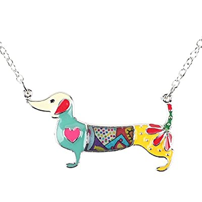 hot sell Bonsny Love Heart Enamel Zinc Alloy Metal Dachshund Necklace Dog Animal pendant Unique Design save more