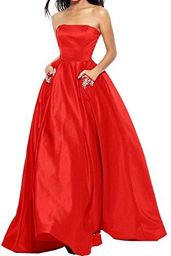 Abschlussballkleider Braut Rot Damen Marie Ballkleider Langes La Satin Abschlussballkleider Abendkleider afpwxFq58