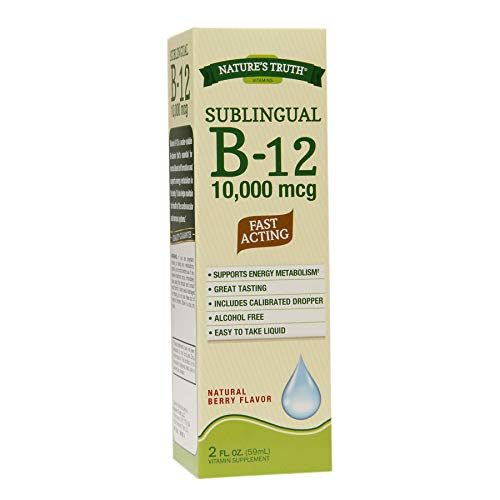 Nature's Truth Sublingual B-12 10,000 mcg Natural Berry Flavor Liquid - 2 oz, Pack of 5