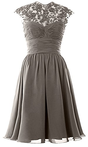 Bridesmaid Women Cap MACloth High Dress Lace Sleeve Ball Gown Wedding Party Neck Pewter Short 1gHxHwS