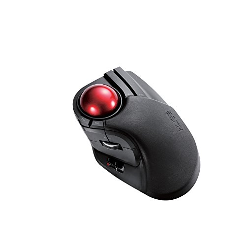 ELECOM M-HT1DRBK Wireless Trackball Mouse - Extra Large Ergonomic Design, 8-Button Function with Smooth Tracking, Black