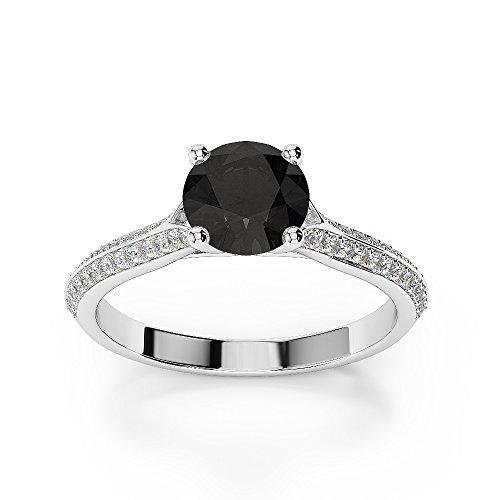 G-H/VS 1CT Coupe ronde sertie de diamants Noir Bague de fiançailles en platine 950Agdr-1200