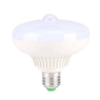 Bombilla LED Sensor de movimiento Bombilla, E27 12W Infrarrojo Automático Amanece a la luz del