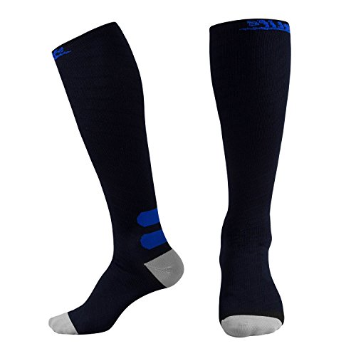 Compression Socks (20-30 mmHg) - REINFORCED TOE & HEEL - Best for Running, Nurses, Flight Travel, Maternity Pregnancy, Circulation & (Reinforced Heel)