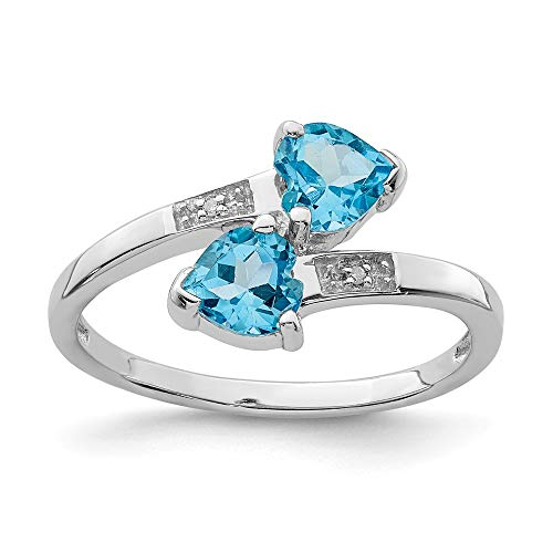 925 Sterling Silver Swiss Blue Topaz Diamond Heart Band Ring Size 7.00 S/love Stone Gemstone Fine Jewelry Gifts For Women For Her ()