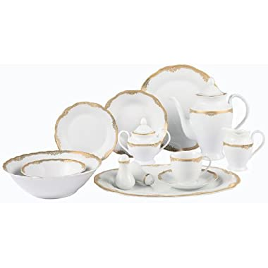 Lorenzo Import Catherine 57-Piece Wavy Porcelain Dinnerware Set